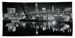 Hand Towel featuring the photograph River Lights In Black And White by Frozen in Time Fine Art Photography