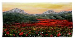 River Of Poppies Hand Towel