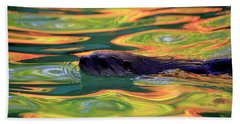 River Otter In Autumn Reflections Hand Towel