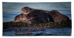 River Otters Hand Towel by Randy Hall
