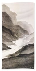 River Running Through Mountains Hand Towel by Edwin Alverio