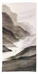 River Running Through Mountains Bath Towel by Edwin Alverio