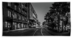 River Street Tracks In Black And White Bath Towel