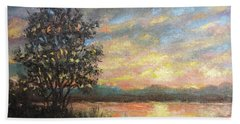 Hand Towel featuring the painting River Sundown by Kathleen McDermott