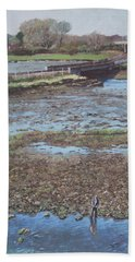 Hand Towel featuring the painting River Test At Totton Southampton by Martin Davey
