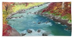 River Through Woods Bath Towel