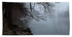 Riverbank In The Fog Hand Towel