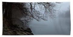 Riverbank In The Fog Bath Towel