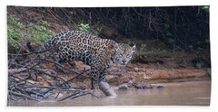 Hand Towel featuring the photograph Riverbank Jaguar by Wade Aiken