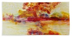 Hand Towel featuring the painting Riverscape In Red by Carolyn Rosenberger