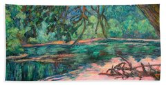 Bath Towel featuring the painting Riverview At Dusk by Kendall Kessler