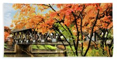 Hand Towel featuring the painting Riverwalk Covered Bridge by Christopher Arndt