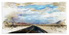 Hand Towel featuring the digital art Road In The Desert by Robert Smith