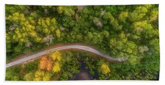 Bath Towel featuring the photograph Road Inside Jungle From Above by Pradeep Raja PRINTS