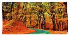 Road Leading Through The Autumn Woods Bath Towel