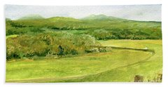 Road Through Vermont Field Bath Towel