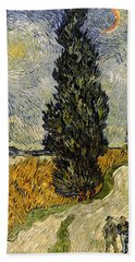 Road With Cypresses Bath Towel