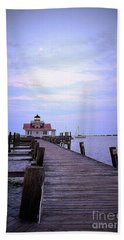 Full Moon Over Roanoke Marshes Lighthouse Hand Towel