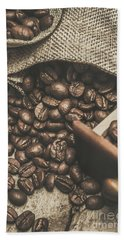 Roasted Coffee Beans In Close-up  Bath Towel