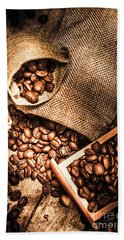 Roasted Coffee Beans In Drawer And Bags On Table Hand Towel