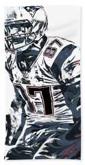 Rob Gronkowski New England Patriots Pixel Art 4 Bath Towel by Joe Hamilton