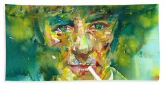 Hand Towel featuring the painting Robert Oppenheimer - Watercolor Portrait.2 by Fabrizio Cassetta