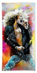 Robert Plant 03 Hand Towel by Miki De Goodaboom