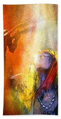 Robert Plant And Jimmy Page 02 Hand Towel by Miki De Goodaboom