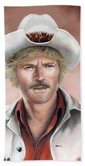 Hand Towel featuring the painting Robert Redford by Loxi Sibley