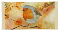 Robin Among Flowers Bath Towel