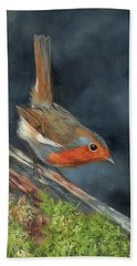 Bath Towel featuring the painting Robin by David Stribbling