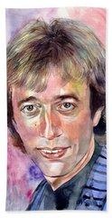 Robin Gibb Portrait Watercolor Bath Towel