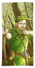 Robin  Hood In Sherwood Forest Hand Towel by Reynold Jay