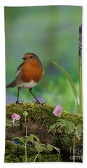 Robin In Spring Wood Hand Towel