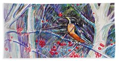 Robin In The Crab Apple Trees Sketch Bath Towel