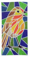 Robin On Stained Glass Hand Towel