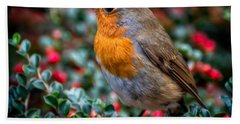 Bath Towel featuring the photograph Robin Redbreast by Adrian Evans