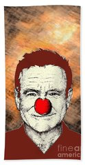 Hand Towel featuring the drawing Robin Williams 2 by Jason Tricktop Matthews