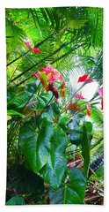 Robins Garden With Anthuriums And Ferns Bath Towel