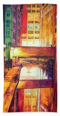 Rochdale Canal With Lock At Night Hand Towel
