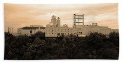 Bath Towel featuring the photograph Rochester, Ny - Factory On A Hill Sepia by Frank Romeo