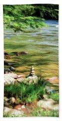 Bath Towel featuring the photograph Rock Cairn Along The Bluestone River by Kerri Farley