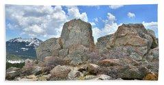 Rock Cropping At Big Horn Pass Hand Towel