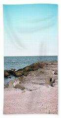 Hand Towel featuring the photograph Rock Jetty by Colleen Kammerer