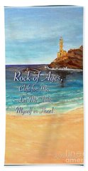 Bath Towel featuring the painting Rock Of Ages Let Me Hide Myself In Thee by Kimberlee Baxter