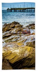 Bath Towel featuring the photograph Rock Pier by Perry Webster