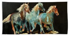 Bath Towel featuring the painting Rockin' Horses by Barbie Batson