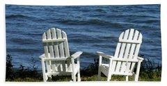 Rocking Adirondak Chairs On The Maine Coast Bath Towel by DejaVu Designs