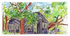 Hand Towel featuring the painting Rockland Cabin by Cathie Richardson