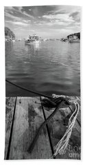 Rockport Harbor, Maine #80458-bw Bath Towel